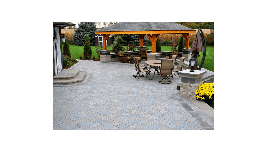 large paver patio sitting area