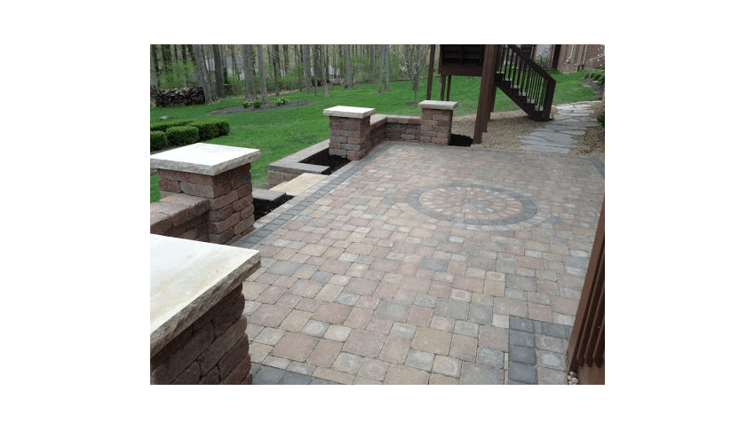 paver patio wall stairs